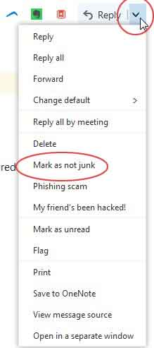 hotmail and outlook mark as not junk
